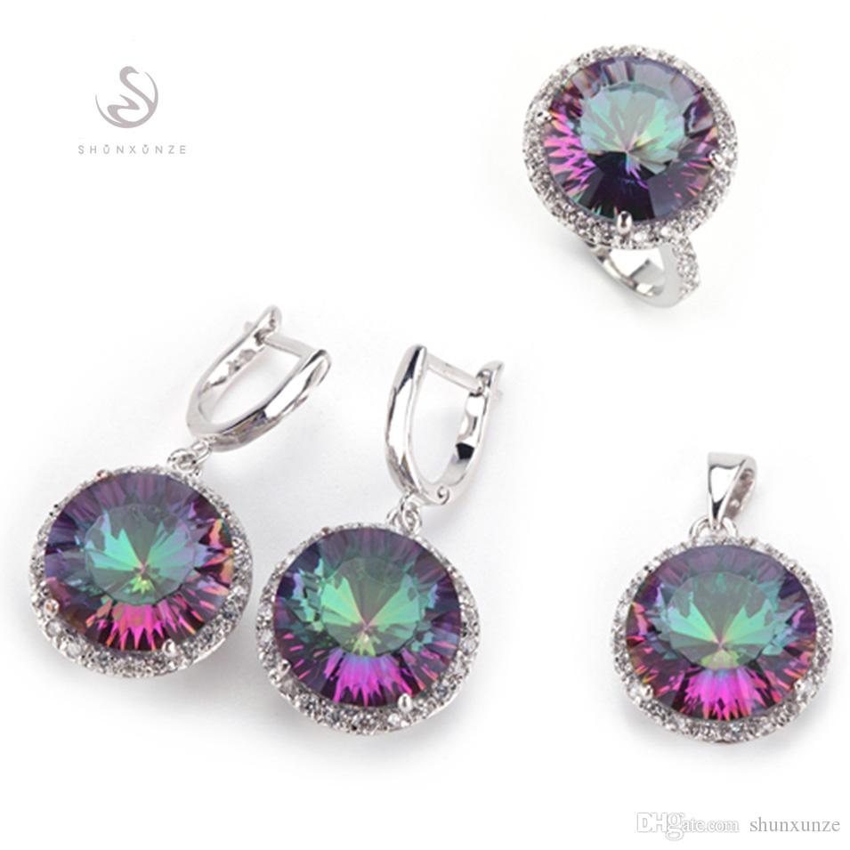 SHUNXUNZE dropshipping ensembles de bijoux de mariage (anneau / boucle d'oreille / pendentif) pour les femmes fou Rob arc-en-Zircon rhodié R735set # 6 7 8 9