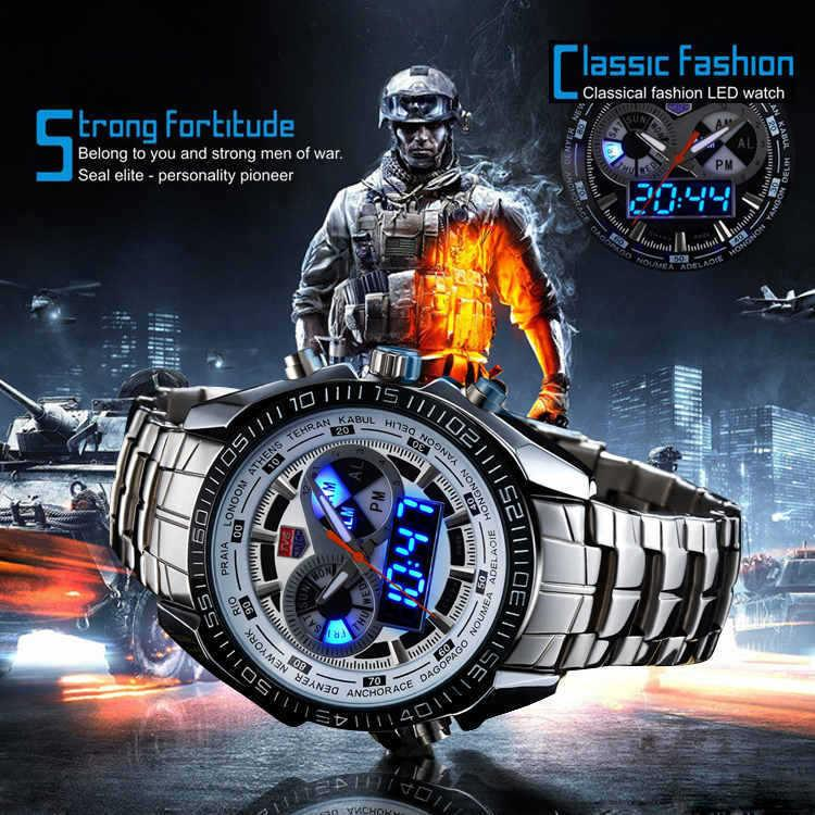 Männer Uhren Dual Display Uhr Quarzwerk 30 Meter Sportuhren Marke TVG Digital LED Militäruhren Edelstahl männliche Uhr