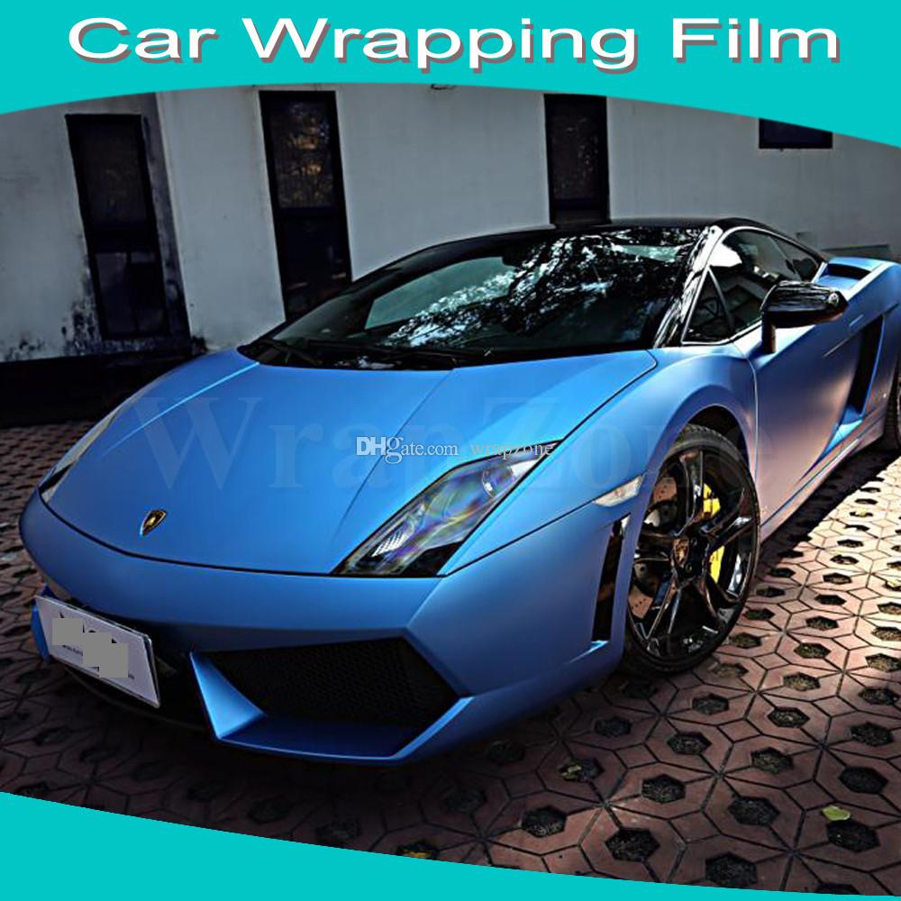 Blue car sticker design - Top Selling Matt Sky Blue Car Wrapping Film Matt Film For Car Sticker Air Free Bubbles Free Shipping Size 1 52x30m Roll