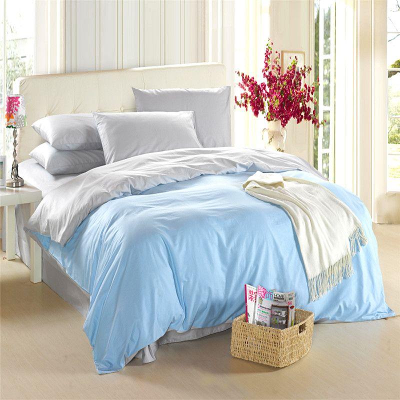 Light Blue Silver Grey Bedding Set King Size Queen Quilt Doona Duvet Cover Western Double Bed Sheet Bedspreads Bedroom Linen 100 Cotton Duvet Covers