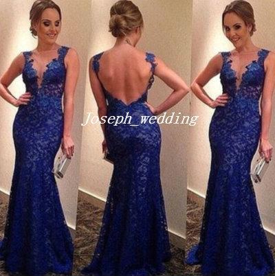 2017 Elegant Dark Royal Blue Lace Prom Klänningar Mermaid Long Backless Women Event Gown Fast Shipping