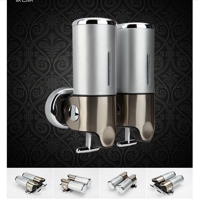 Envío libre al por mayor y venta al por menor promoción de alto grado cromo baño líquido dispensador de jabón montado en la pared 2 contenedor de jabón