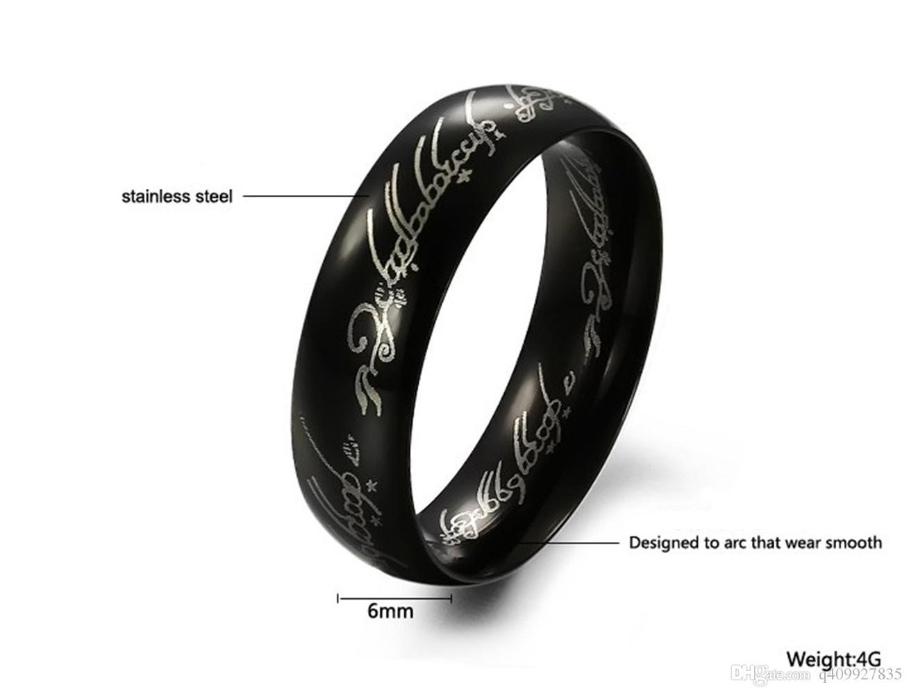 fashion mens lord of the rings titanium stainless steel personalized engagement wedding bands ring smooth black
