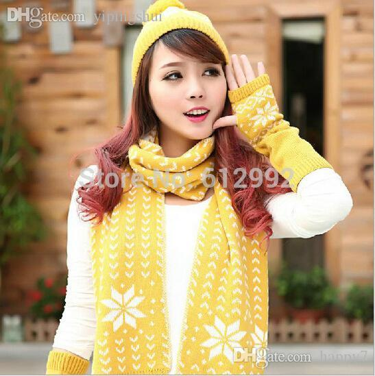 Wholesale-New hot sale snow printed scarf hat glove three pieces set warm winter gift for Christmas