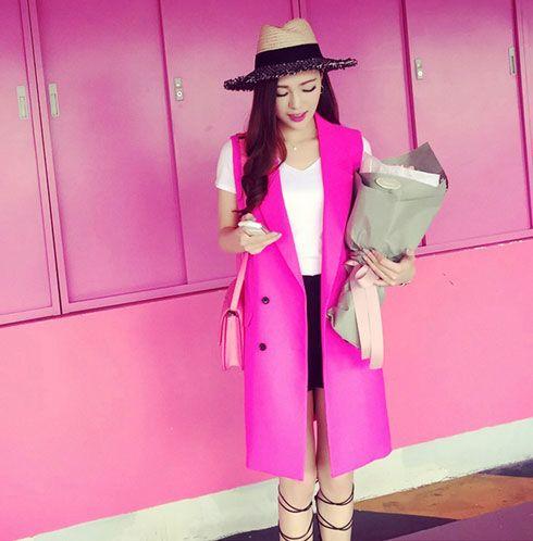 Nouveau 2015 mode rose solide long style femmes costume gilet dames gilets à double boutonnage gilet sans manches Tops femme tissu