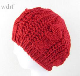 Wholesale-Wholesale 2015 New Fashion Women's Beret Lady Braided Baggy Beanie Crochet Warm Winter Hat Ski Cap Wool Knitted Touca