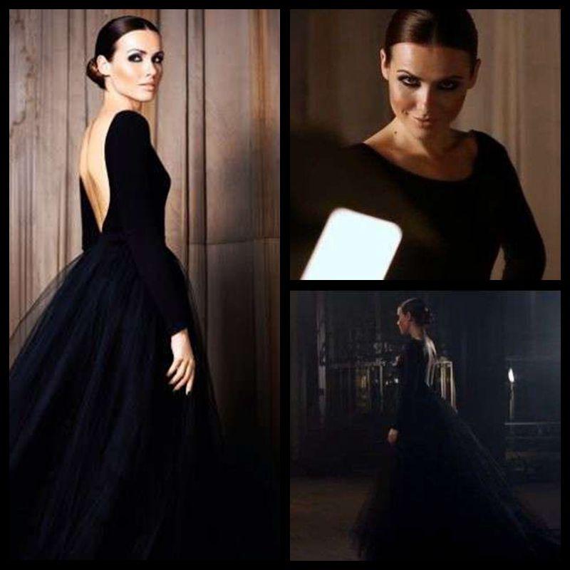 Simple Black Puffy Tulle Skirt Open Back Elegant Long Sleeve Evening Dresses 2020 Formal Gown New Arrival