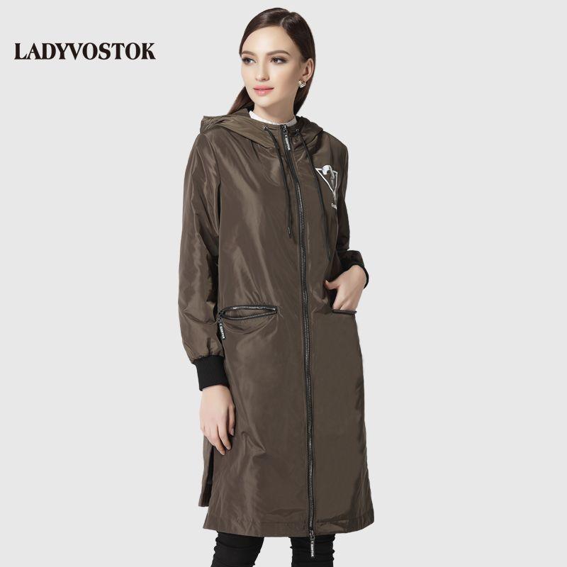 woman's coat casual windbreaker fashion headset woman's leisure long paragraph hat knee 17-092