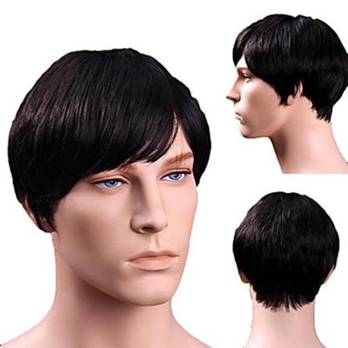 100% echte natürliche Menschenhaar Männer kurze Perücken volle Perücke Haarteil Toupee schwarze Farbe