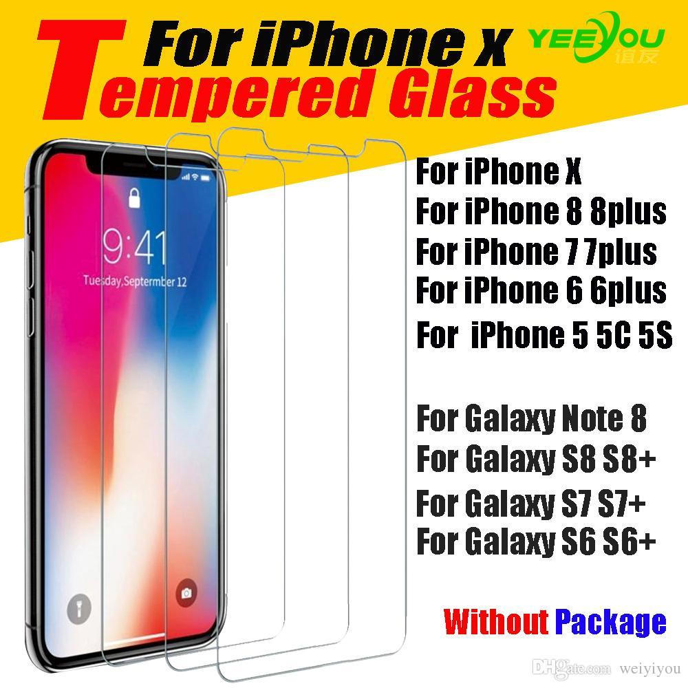 Per iPhone X 8 8Plus 6S Pellicola proteggi schermo in vetro temperato per Samsung S6 edge S8 Note 8 pellicola trasparente protezione senza Pakcage