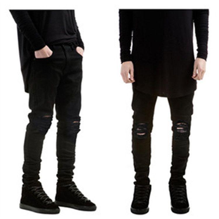Summer Style Mens Destroyed Denim Jeans Slim Hole Black Strech ...