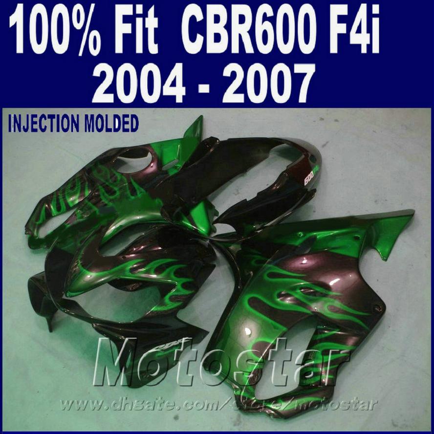 100% литье под давлением для HONDA CBR 600 F4i обтекатели 2004 2005 2006 2007 зеленый пламя обтекатель комплекты cbr600f4i 04 05 06 07 JDSG