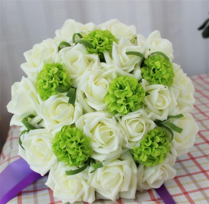 "Bridal Bouquer Dia. 18cm/7"" 4Pcs Artificial Flowers Foam White Rose Silk Green Hydrangea Flower Ball Wedding Bridesmaid Bride Bouquets"