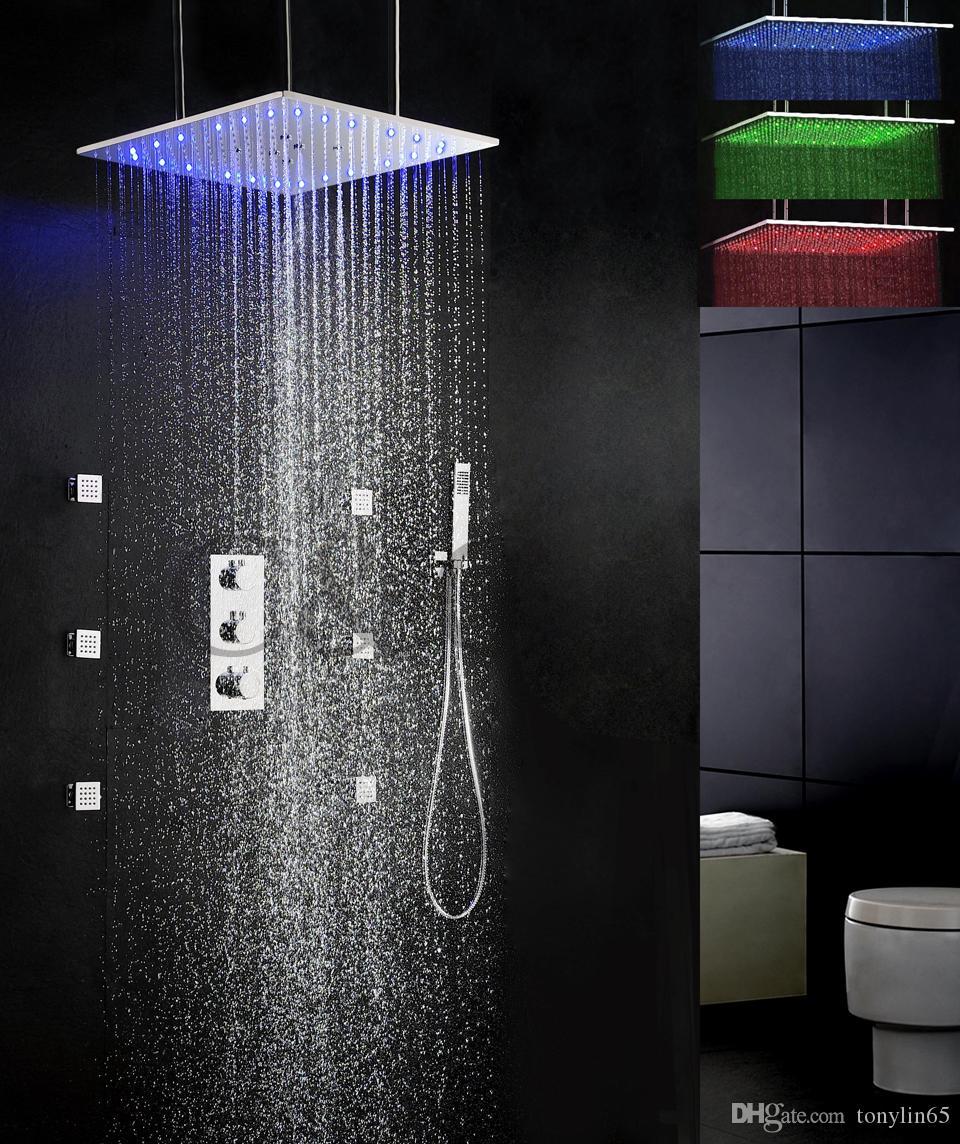 Termostatyczny Bateria prysznicowa Zestaw 20 calowych spaść i opadów LED Wrażliwa temperatura Głowica prysznicowa 009-20QL-F