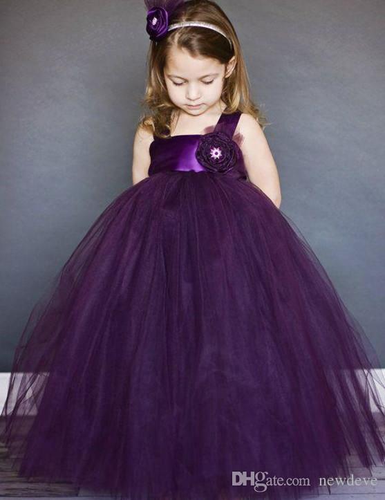 女の子紫の正方形のノースリーブボールガウンの花のガールのドレスのためのページェントのドレス花の山の長さのオーガンザページェントのガウン子供たち