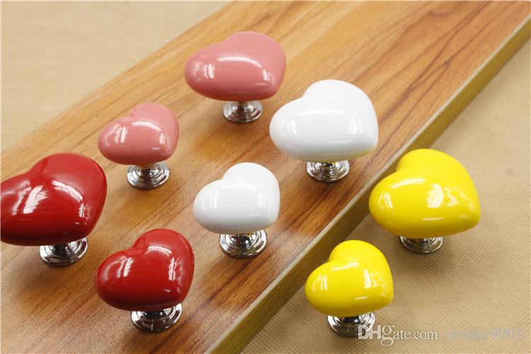 Red yellow pink white cute colorful Love ceramic single door knob/pull(heart shape) for cabinet locker drawer furniture accessories #28