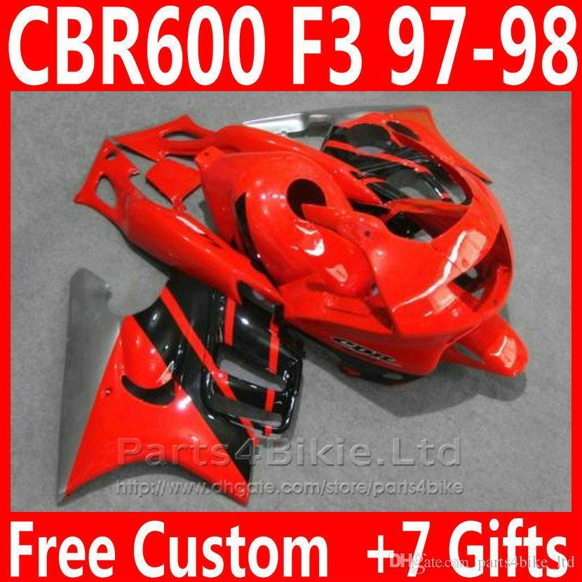 Nouveau kit carrosserie noir noir pour kit de carénage Honda CBR 600 F3 1997 1998 carénages CBR600F3 CBR600 F3 95 96 SOVR