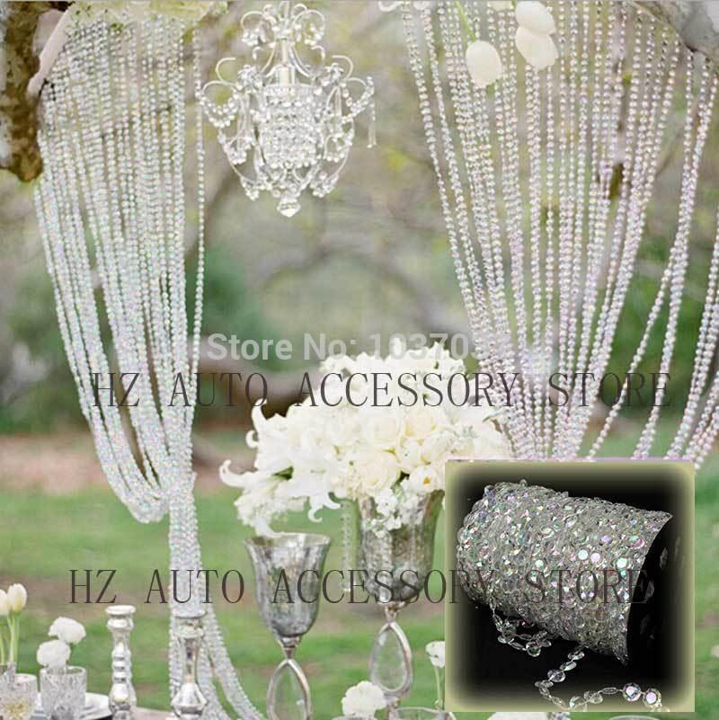 30m DIY Iridescent Garland Diamond Acrylic Crystal Beads Strand Shimmer Wedding decoration free shipping wedding centerpieces