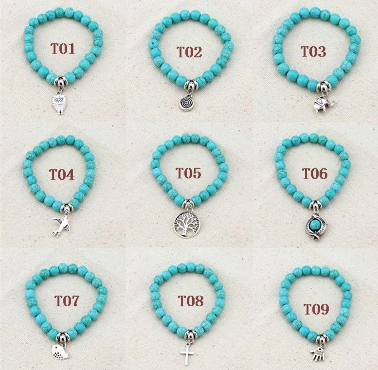 9 стили 2015 классические прелести браслеты этнические бирюзовые, Модные женские ручной бирюзовый Браслет из бисера, 20 шт. / лот бесплатная доставка