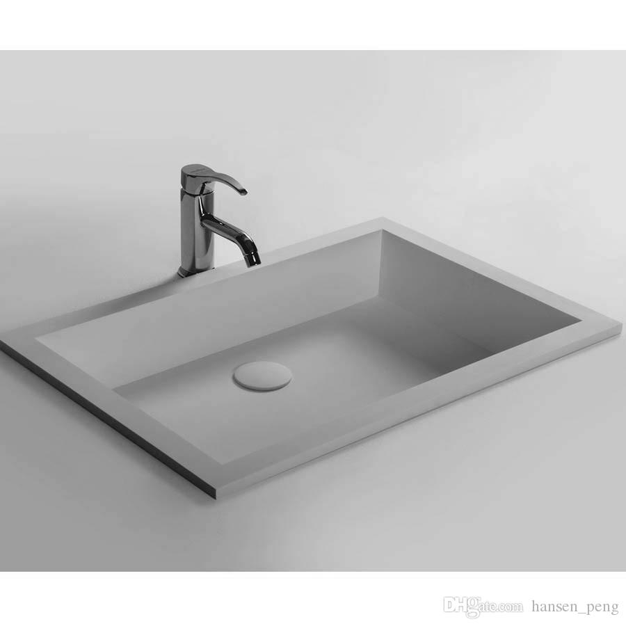 Rectangular Bathroom Solid Surface Stone Wash Basin Recess Sink Matt White Or Glossy Laundry Vessel Sink RS3879