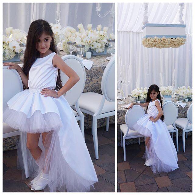 Lovely High Low Flower Girl Dresses Puffy Tulle Ball Gown KIDS Dresses 2016 Custom Made Wedding Kids Dresses