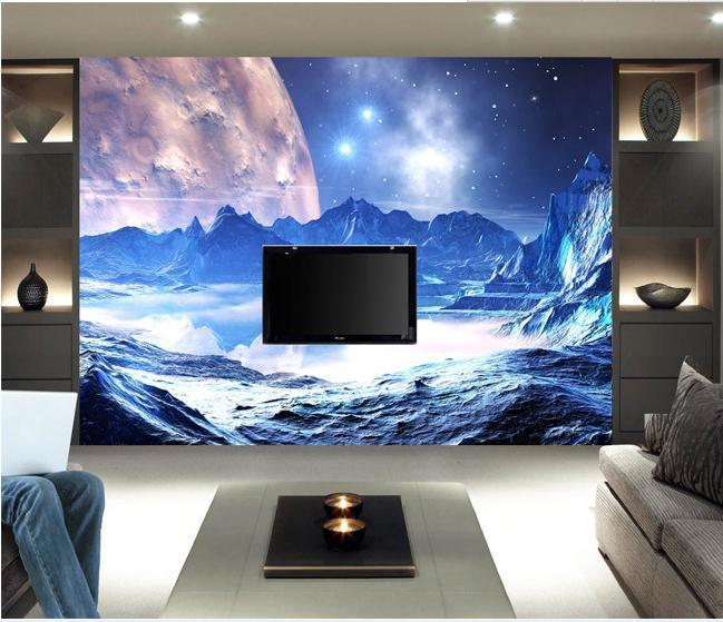 Large mural papel de parede universe Landscape painting backdrop wall sticker wholesale Factory Direct FREE SHIPPING7866a!!!