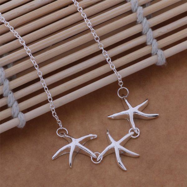 Envío gratis con número de seguimiento Mejor venta caliente Mujer regalo delicado joyería 925 Plata 3 estrellas de mar collar