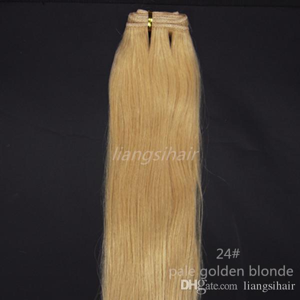 "Brazilian Hair Extensions 100g 1pcs 18"" 24# Pale Golden Blonde Brazilian Indian Malaysian Peruvian Human Hair Weave Straight Hair Weft"