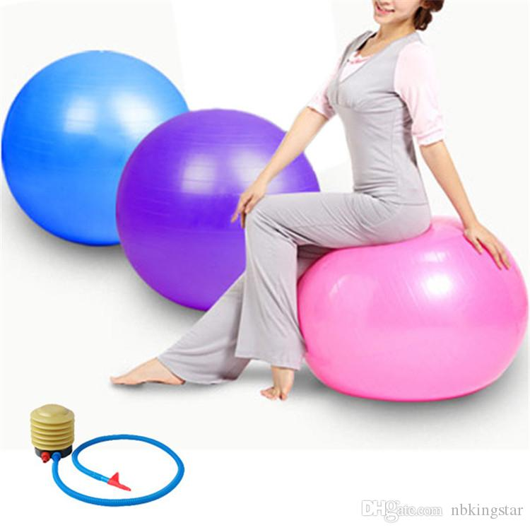 65 CM Swiss Yoga Home Gym Exercise Pilates Equipment Fitness Ball Pump Purple / Bleu / Rose Livraison Gratuite