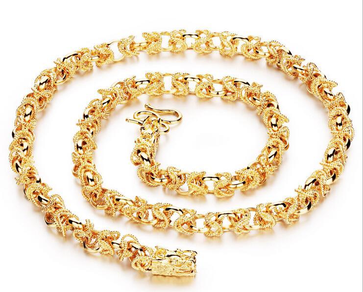 Тяжелые мужчины 24 к желтое золото заполненные ожерелье браслет комплект GF Снаряженная цепи свободные мужские ювелирные наборы (ожерелье и браслет ) новое прибытие рождественские подарки