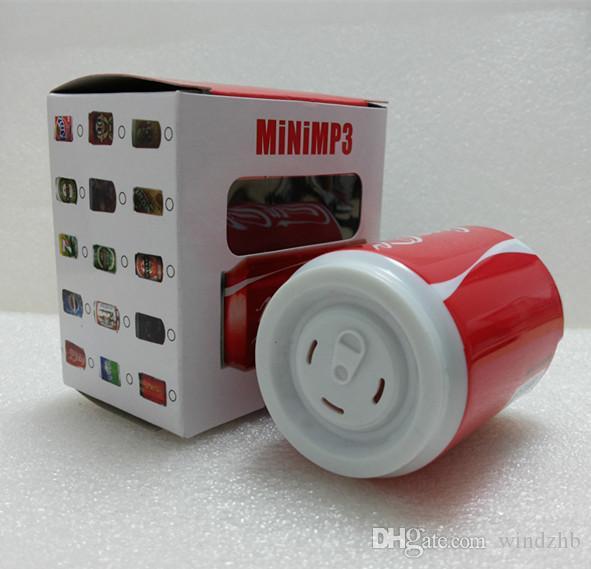 플라스틱 캔 작풍 오디오 소형 MP3 선수 문구가 많은 철회 가능한 깡통 모형 마이크로 SD TF 카드 구멍을 가진 스피커가 아닌 MP3 + USB + 소매 상자