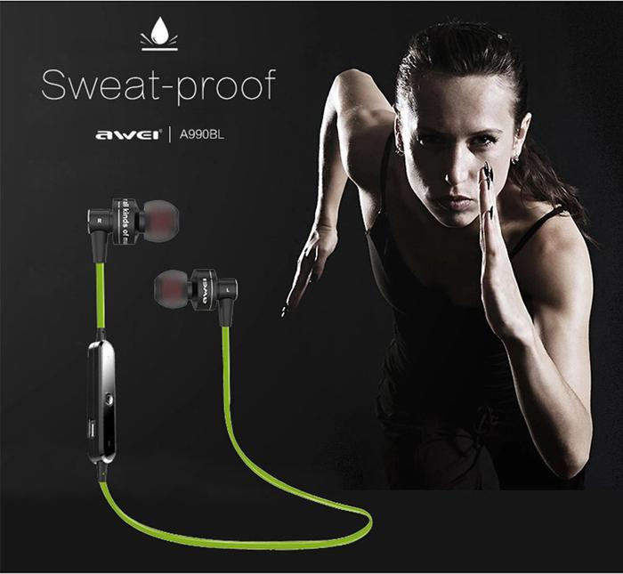AWEI A990BL Sports Smart Bluetooth Wireless Earphone Sweat-proof Neckband With Mic Control Headphones for iPhone5 6 6S Samsung Galaxy 300pcs