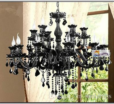 Star hotel large black chandeliers 12/15/18 arms antique pendant crystal lighting for living room led lustre living room pendant chandelier