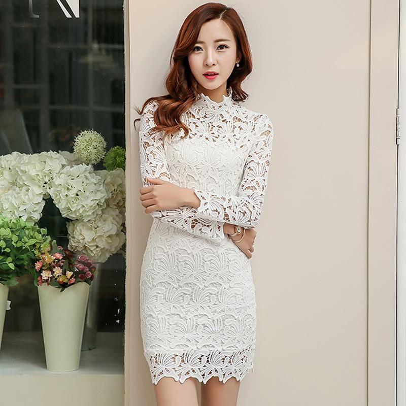2019 2015 New Fashion White Lace Dress Women Turtleneck Long Sleeve Autumn  Dress Party Evening Elegant Dress Plus Size From Wpj10000, $79.02 | ...