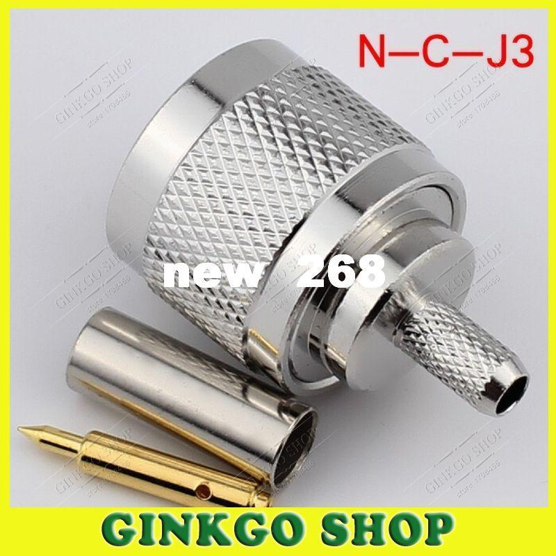 25 pçs / lote N-C-J3 Masculino Crimp Jack N-tipo para RG142 RG58 LMR195 LMR200 Cabo 3D-FB Plugue Macho Reta RF Coaxial Conector