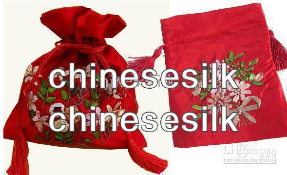 Pretty Gift Tea Bags Silk Hand Embroidered Party Candy Bags Drawstring Pouch 50pcs/lot mix Free