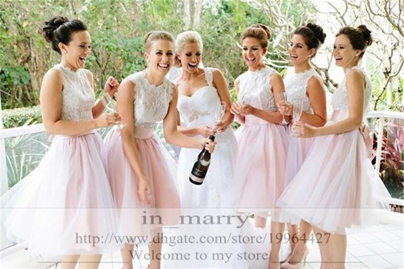 2016 Blush Pink Tutu Skirt Bridesmaid Country Wedding Short Knee Length Puffy 5 Layers Cheap