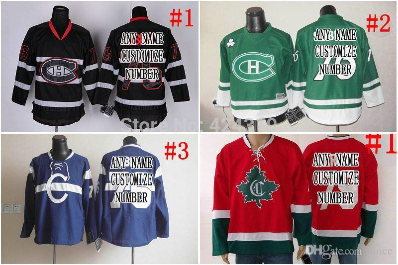 2016 Novo, presentes de Natal Personalizado vermelho / Branco / preto / verde Montreal Canadiens Jersey casa / longe Baratos Hóquei Jersey China Qualquer NO. / Nome Costurado