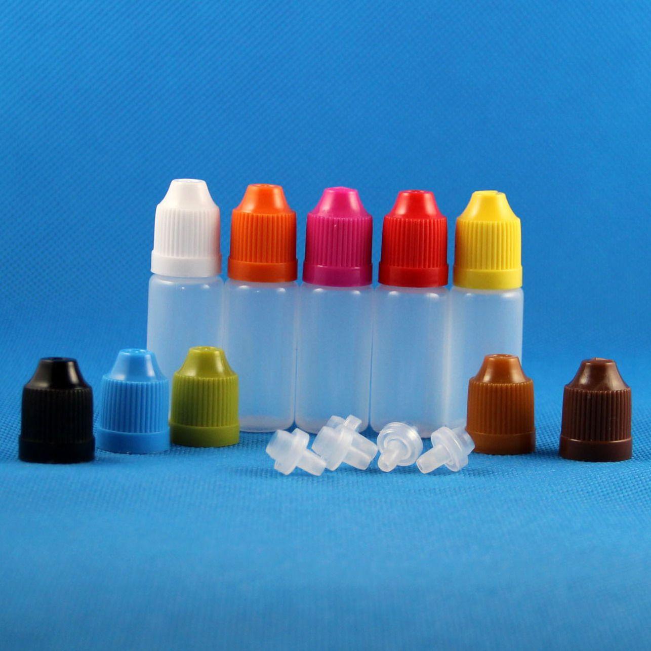 100 компл. 10 мл 1/3 унции пластиковые бутылки капельницы с ребенком доказательство крышки LDPE жидкости е сигареты пара сок масло 10 мл