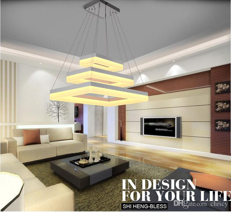 modernas luces colgantes led para comedor saln rectangular de acrlico llev colgante accesorio de la lmpara