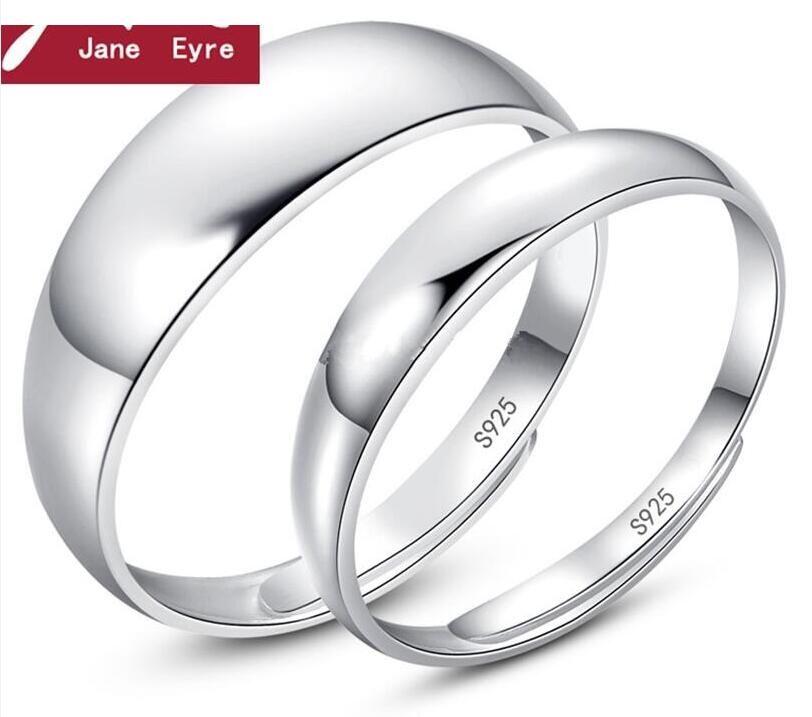 새로운 간단한 매끄러운 표면 연인 반지 패션 입안 S925 스털링 실버 쥬얼리 커플 링 웨딩 약혼 반지