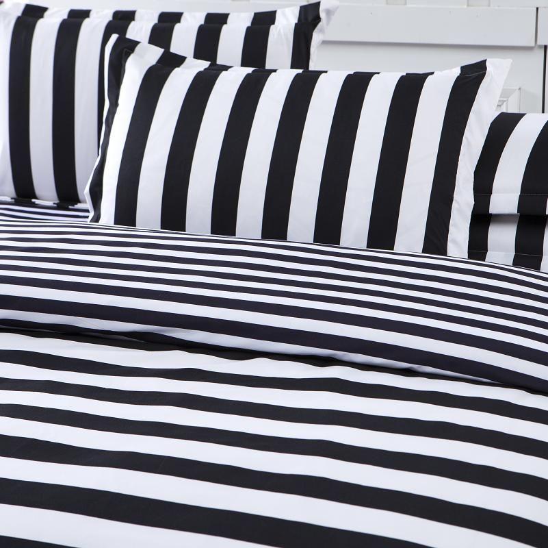 Wholesale-New Arrival Striped Bedclothes White And Black Cotton Quilt Cover Soft Printed Bedding Set 3pcs Or 4pcs Wholesale