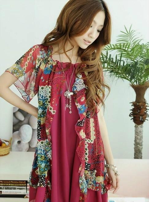 النساء الحوامل ملابس الصيف الكورية بالإضافة إلى حجم كبير فضفاض الشيفون اللباس رمز عارضة بوهيميا فساتين الحمل