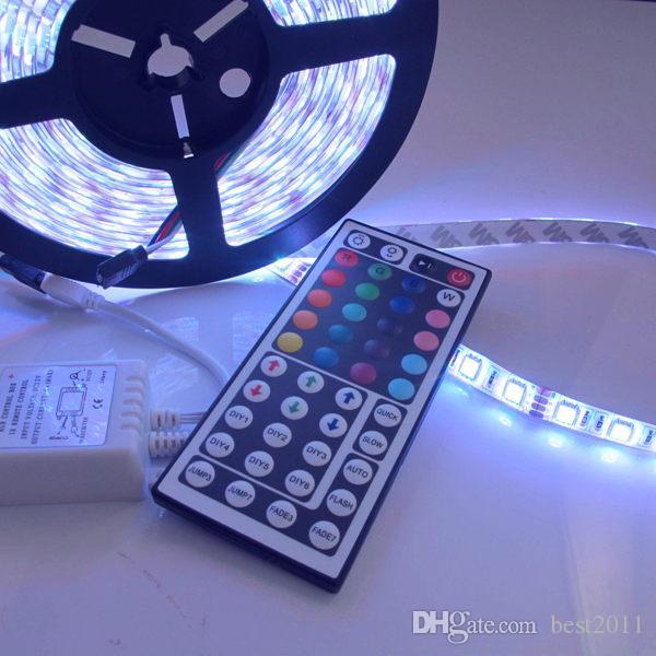 5M 300 LEDS Waterproof Led strips RGB lights 5050 SMD + 44key remote controller + 12V 5A power supply EU/AU/UK/US