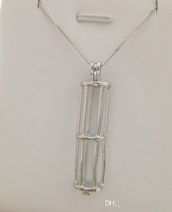 18kgp Pearl Koraliki Klepki Locket Locket Cage Wisiorek, Cylinder Wisiorek Montaż Biżuteria P10