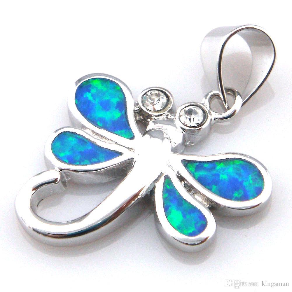 Jóias de opala azul com pedra CZ; pingente de opala mexicano pingente de libélula op187a