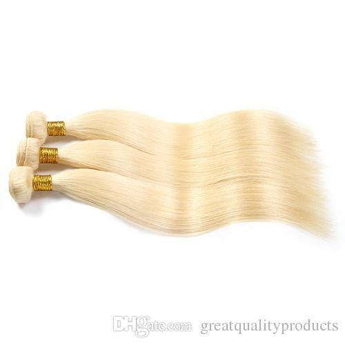 Brazilian Straight Hair Grade 8A Color #613 Bleach Blonde Human Hair Weave Bundles Brazilian Hair Extensions 3Pcs 8-30 Inch hot sell