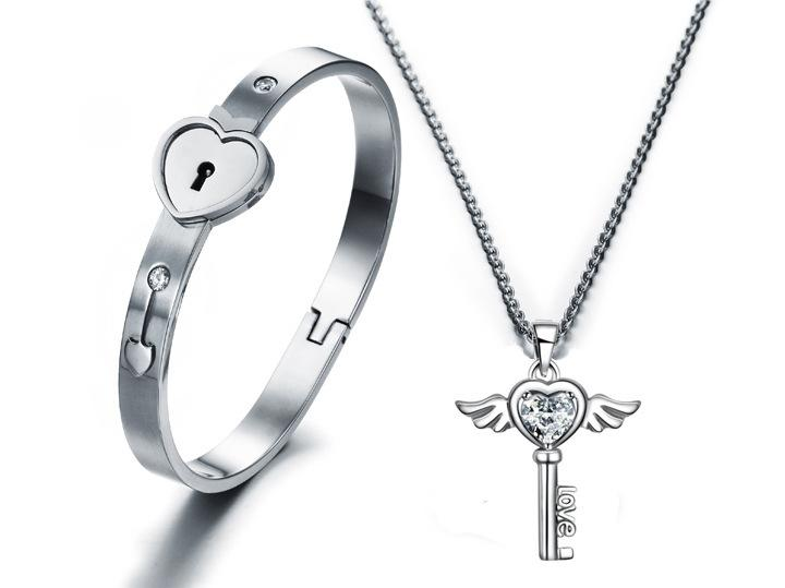 Пара любовник комплект ювелирных изделий Серебро из нержавеющей стали любовник сердце замок браслет ключ ожерелье замок любовник комплект ювелирных изделий для Валентина