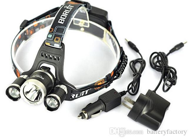 5000 lumen 3xcree xm-l t6 LED phare phare 18650 tête lampe de torche + 2xcharger