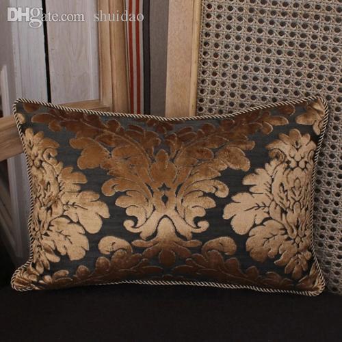 Wholesale-European Style Gold  Embroidery Jacquard Chenille Fabric Sofa Cushion Cover Pillowcase No Core Home Hotel Decorative